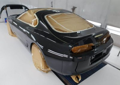 Black Supra in our spray booth Custom build by Next Level Automotive nextlevelautomotive.eu