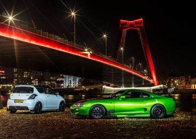 Green Toyota Supra at night Custom build by Next Level Automotive nextlevelautomotive.eu
